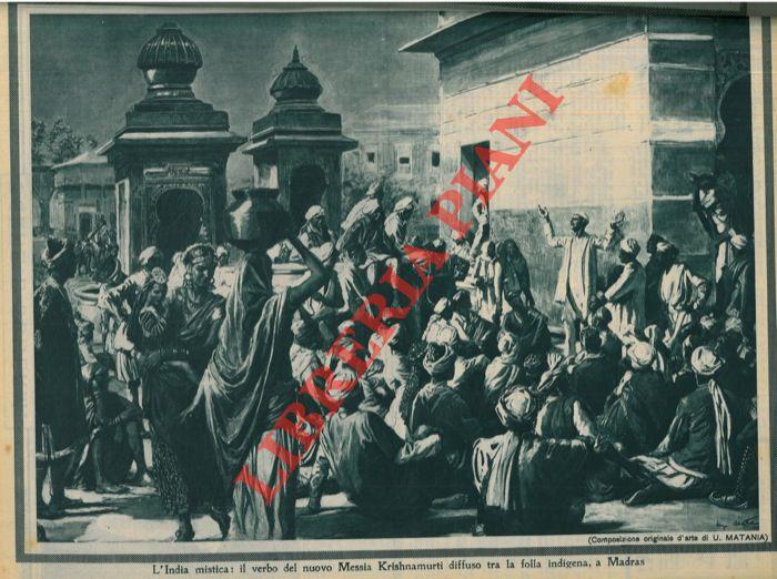 L'India mistica: il verbo del nuovo Messia Krishnamurti diffuso tra la folla indigena, a Madras.