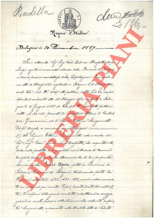 Vendita di una striscia di terreno detta Fondo Aposa a Bologna (Stradello di Saliceto).