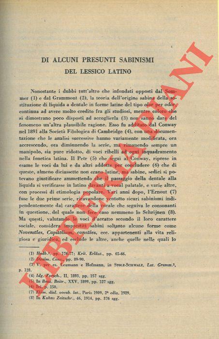 Di alcuni presunti sabinismi del lessico latino.