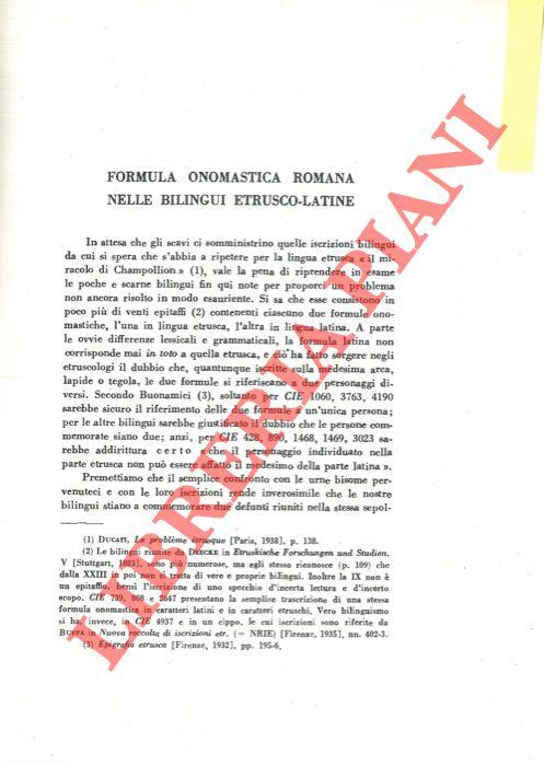 Formula onomastica romana nelle bilingui etrusco-latine.