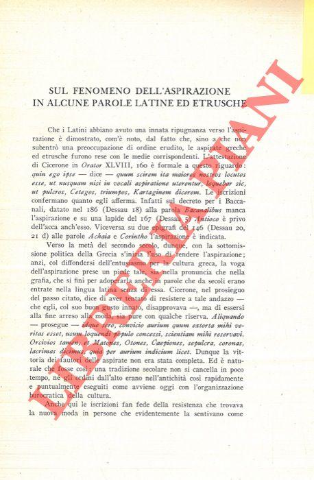 Sul fenomeno dell'aspirazione in alcune parole latine ed etrusche.