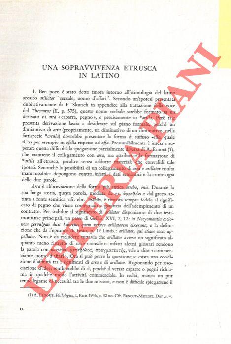 Una sopravvivenza etrusca in latino.
