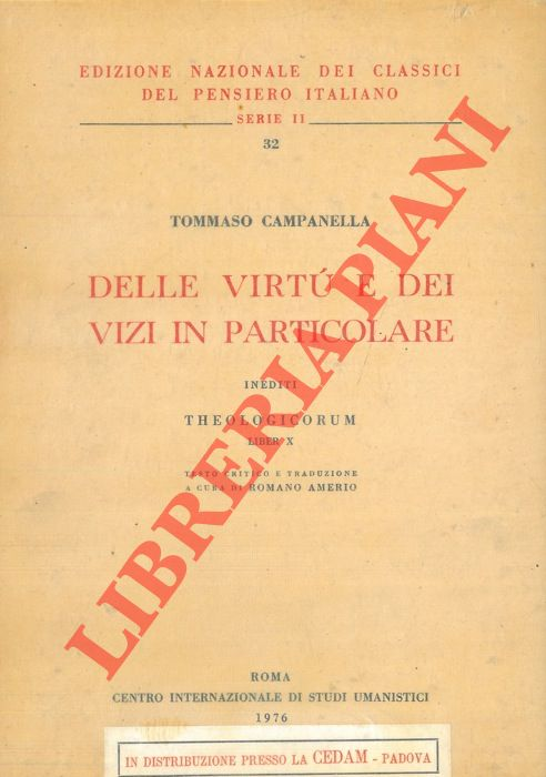 Delle virtù e dei vizi in particolare. Inediti, Theologicorum Liber X.