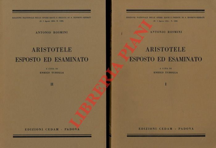 Aristotele esposto ed esaminato. A cura di Enrico Turolla.