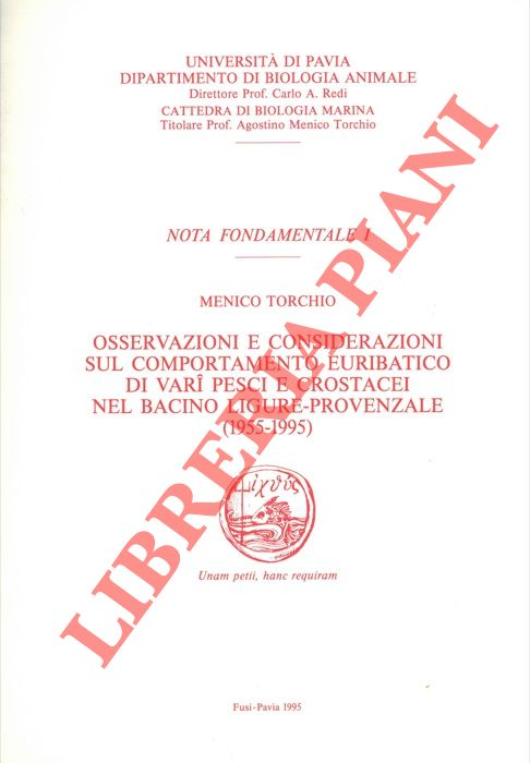 Osservazioni e considerazioni sul comportamento euribatico di vari pesci e crostacei nel bacino ligure - provenzale (1955 - 1995).