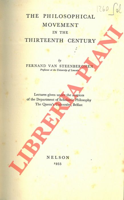 The Philosophical Movement in the Thirteenth Century.