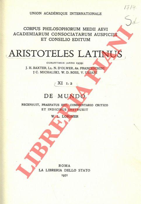 Aristoteles Latinus (XI 1-2). De mundo.